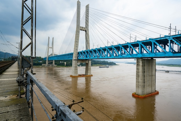 Chongqing yangtze river metal railway bridge, china