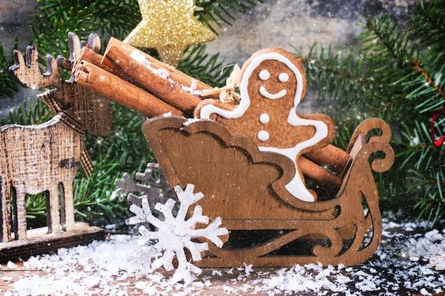 Christmas gingerbread man in slee
