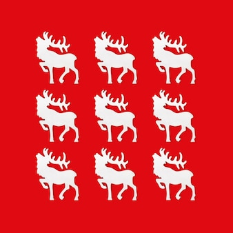 Christmas wenskaart met handgemaakte witte herten, concept winter vakantie.