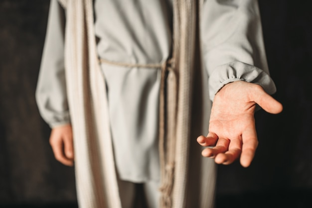 Christus strekte zijn hand uit. geloof in god, christelijk geloof