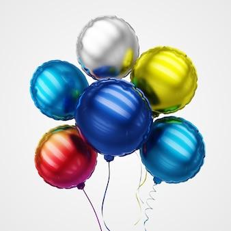 Chrome-impulsen van opblaasbare ballon worden op wit wordt geïsoleerd gemaakt dat. 3d-weergave