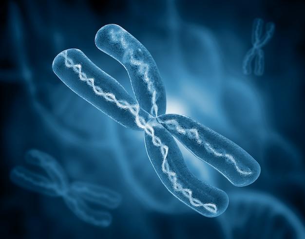 Chromosoom op wetenschappelijke achtergrond. 3d illustratie