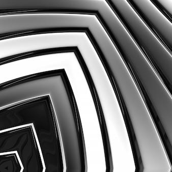 Chroom kleur geometrie grijs 3d abstracte metalen strip achtergrond. mooie vormen buiglijnen chroom