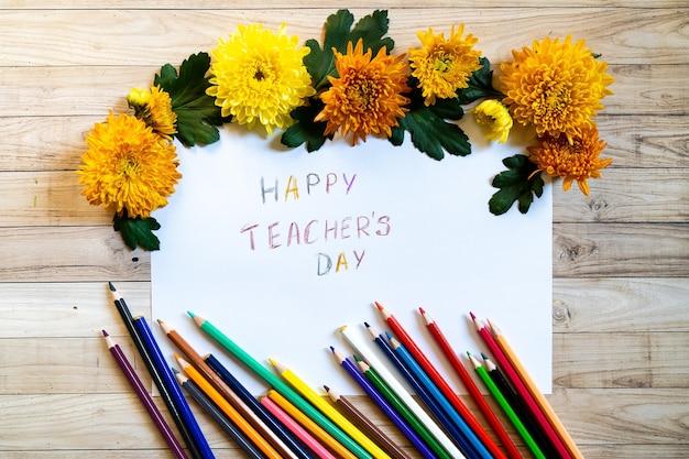 Chrysantemum gelukkige lerarendag verjaardag herfst boeket kopie ruimte blanco papier potloden gekleurd kleurrijk