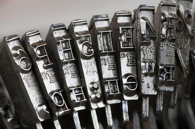 Cijfers en letters van de typemachine