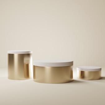 Cilinder beige podia, 3d-rendering