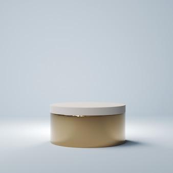 Cilinder beige podium, 3d-rendering
