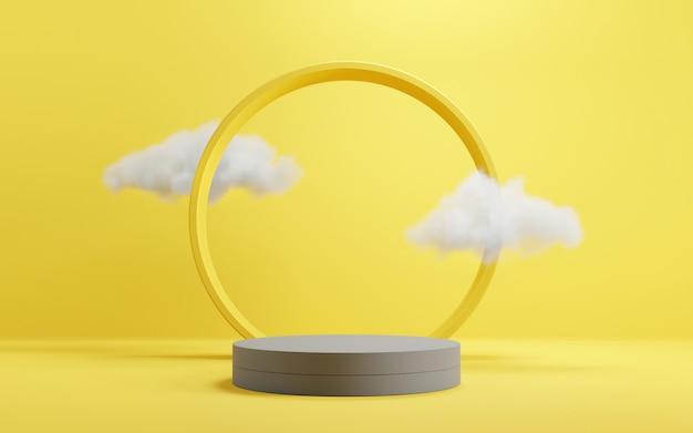 Cilinder geometrisch podiumpodium in gele en grijze achtergronden