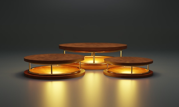 Cilinder houten podium met neonlamp gloedlicht. productstandaard, showcase, 3d illustratie