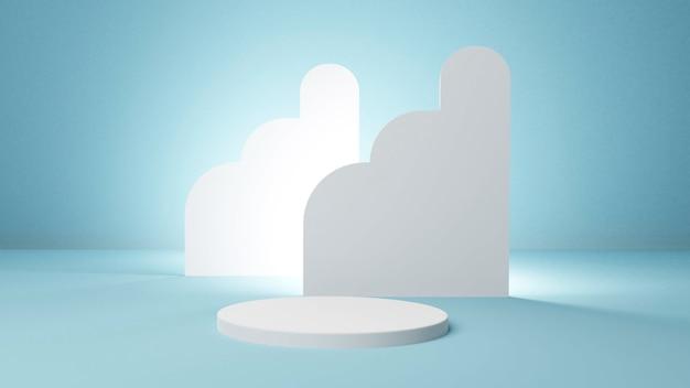 Cilinder podium leeg voetstuk mockup voor product met abstracte cirkel blauwe achtergrond 3d-rendering