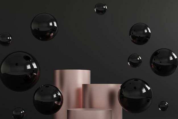 Cilinderpodia namen goud en zwarte bubbels op zwart toe