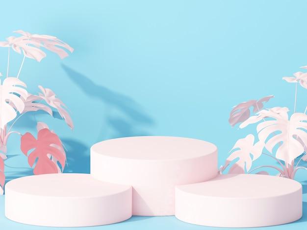 Cilinderpodia voor het tonen van product op blauw