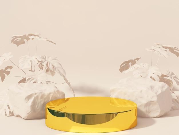 Cilinderpodia voor het tonen van product op bruin