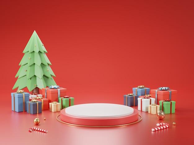 Cilinderpodium en minimale abstracte achtergrond voor kerstmis, 3d-rendering geometrische vorm, stage voor product.