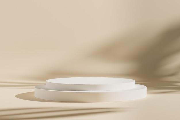 Cilinderpodium of voetstuk voor producten of reclame op beige achtergrond met bladschaduwen, minimale 3d illustratie geeft terug