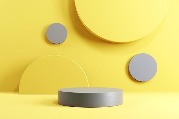 Cilinderpodium op gele en grijze achtergrond