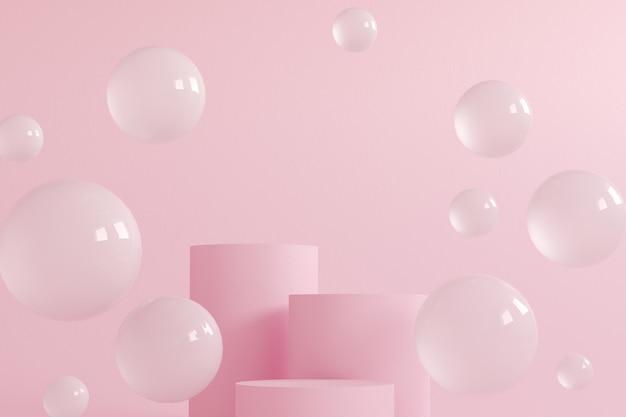 Cilinderpodiums in crème roze kleuren. 3d render