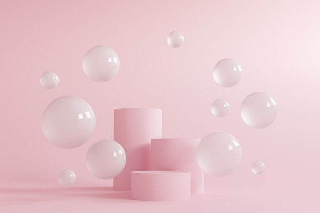 Cilinderpodiums in crème roze kleuren.