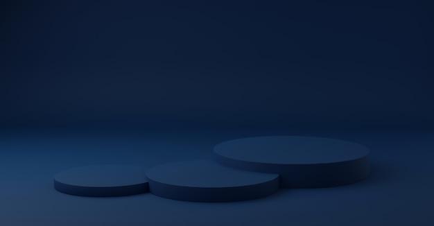 Cilinderpodiums op blauwe achtergrond.