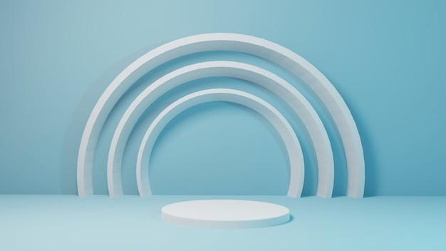 Cilinderstadiummodel voor product met het abstracte 3d teruggeven van cirkel blauwe achtergrond