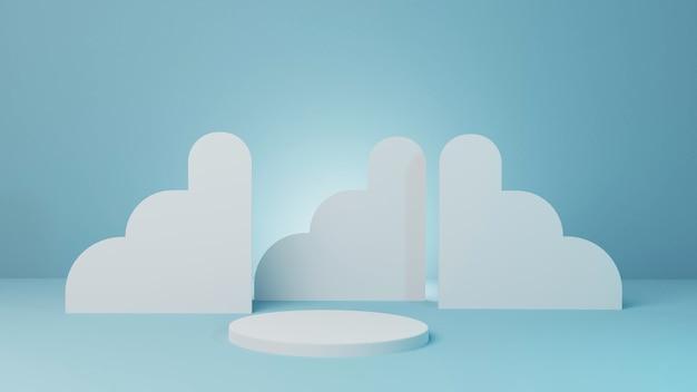 Cilinderstadiummodel voor product met het abstracte blauwe 3d teruggeven als achtergrond