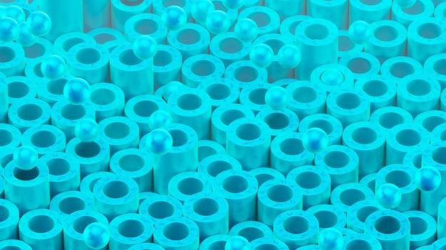Cilindrische buizen en ballen. mooie blauwe kleur en oppervlaktestructuur.