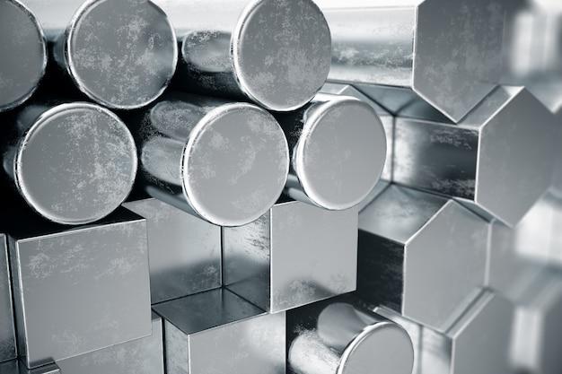Cilindrische metalen stalen profielen, zeshoekige metalen stalen profielen, vierkante metalen stalen profielen. verschillende roestvrijstalen producten, 3d illustratie