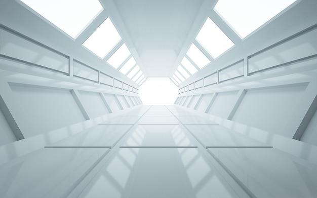 Cinema 4d-achtergrondweergave van een zeshoekige tunnel met witte lichten voor een weergavemodel