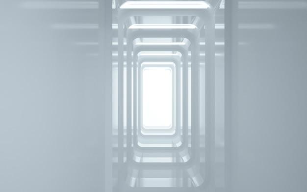 Cinema 4d renderings rechthoekige tunnel achtergrond met wit licht voor display mockup