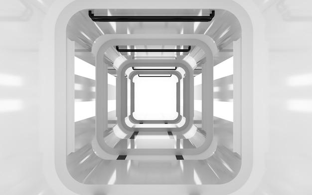 Cinema 4d-weergaven van een vierkante tunnelachtergrond met wit licht voor een weergavemodel