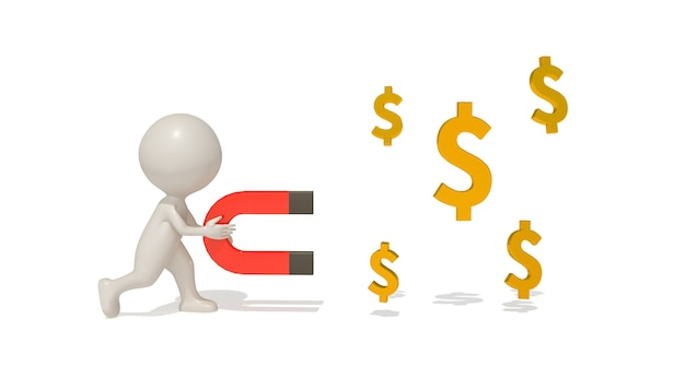 Cinema 4d-weergaven van illustraties verdienen geld
