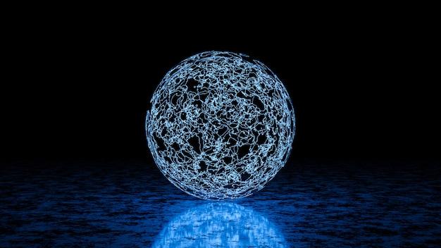 Circle light en sci fi neon light, 3d render