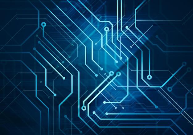 Circuit microchip op donkerblauwe achtergrond