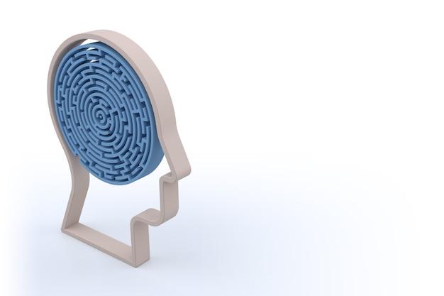 Circulaire doolhof met menselijke hoofdvorm. geïsoleerde witte achtergrond. 3d-rendering
