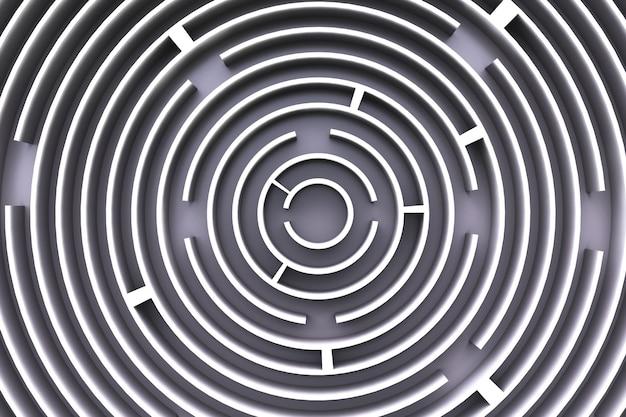 Circulaire doolhof. uitzicht van boven. grijze stijl