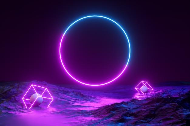 Cirkel gloeiende lijnen neonlicht met berglandschap abstracte 3d render