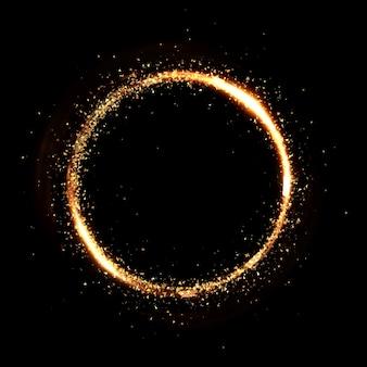 Cirkel gouden deeltje zwarte achtergrond. 3d-rendering 3d-afbeelding.