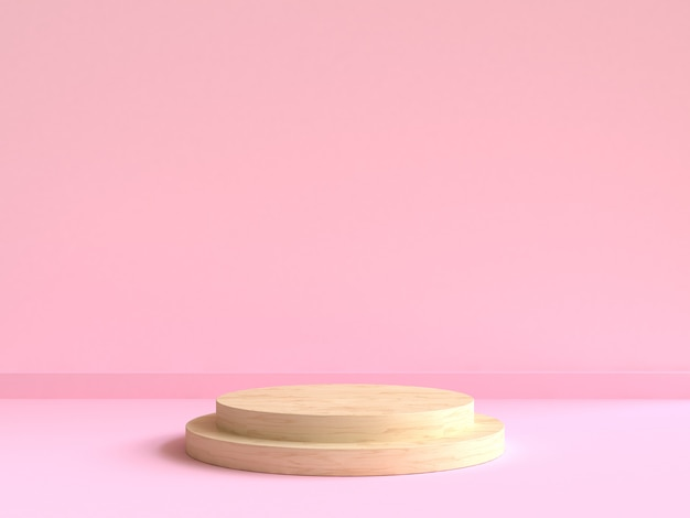 Cirkel houten podium minimale roze muur scène 3d-rendering