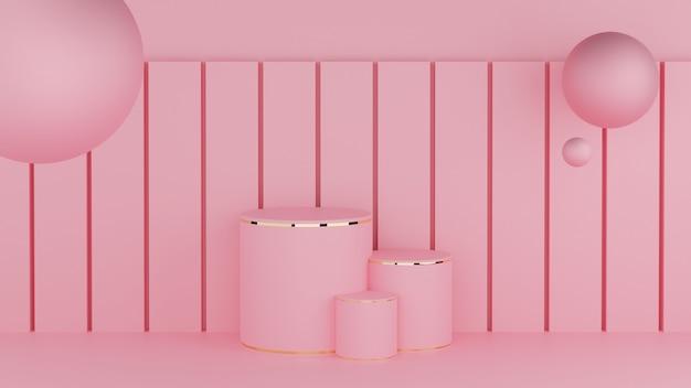 Cirkel podium roze pastelkleur en gouden rand met drie rangschikkende bol en vierkante paal