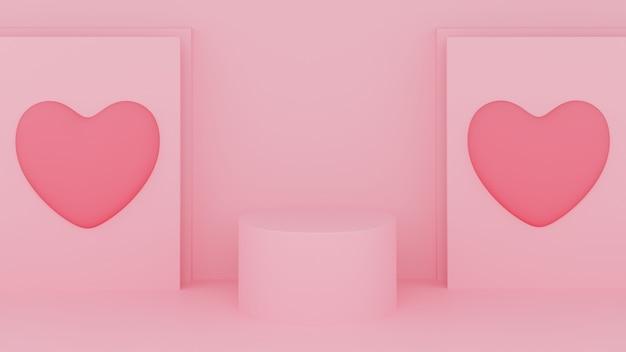 Cirkel podium roze pastelkleur met roze hart en roze tafel. valentijnsdag concept. 3d-rendering illustratie