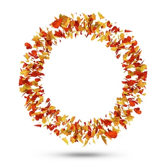 Cirkel van autumn leaves geïsoleerd