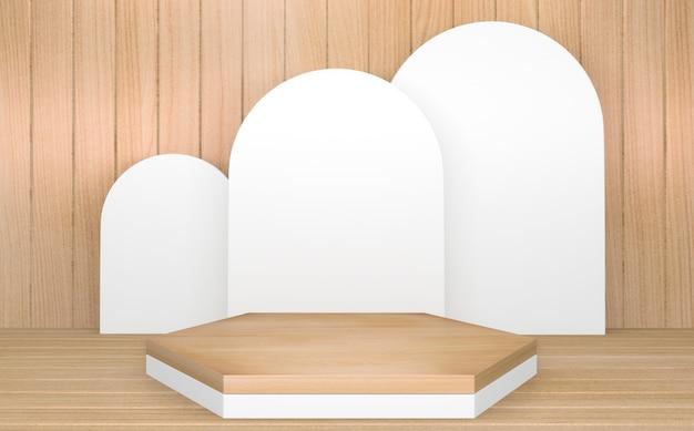 Cirkel wit houten podium minimale geometrische en decoratie japanse stijl abstract.3d-rendering