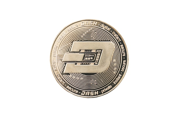 Cirkel zilver dash munt geïsoleerd op een witte achtergrond.