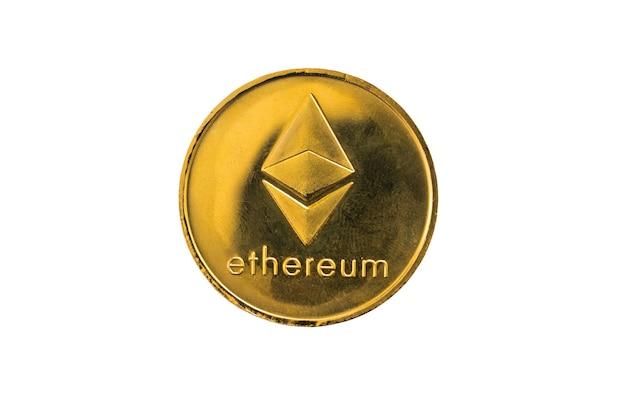 Cirkel zilver ethereum munt geïsoleerd op een witte achtergrond.