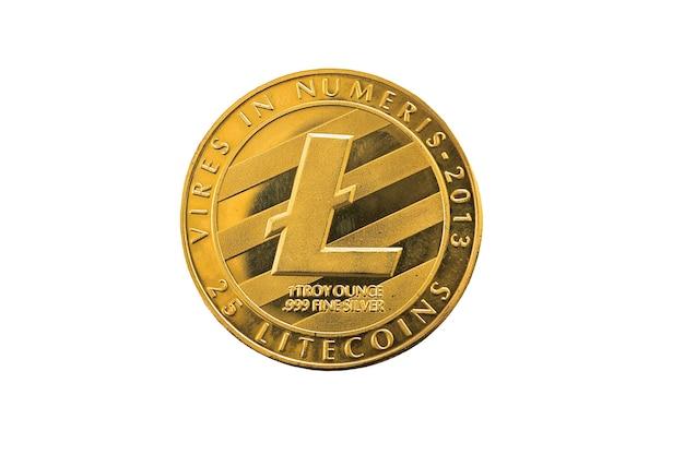 Cirkel zilver litecoin munt geïsoleerd op een witte achtergrond.