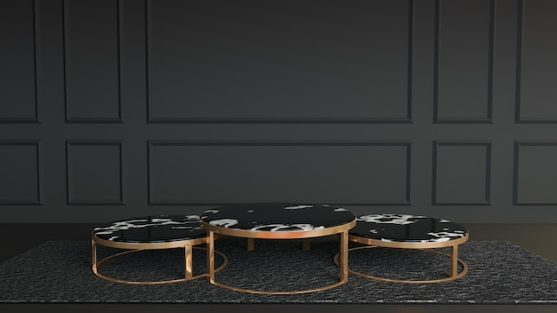 Cirkel zwart wit marmeren gouden metalen tafelstandaard om op het donkere tapijt in een zwart-witte kamer te plaatsen