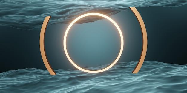 Cirkelframe en geometrische studioscènering op het wateroppervlak