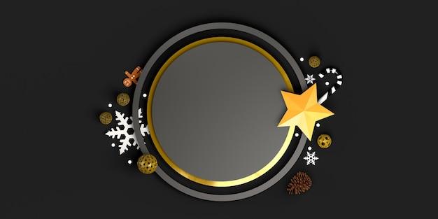 Cirkelframe met kerstobjecten sterren snoepstokken sneeuwvlokken ballen ruimte kopiëren