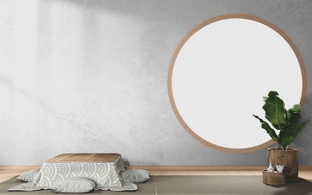 Cirkelvensterontwerp op tropisch kamer japans interieur
