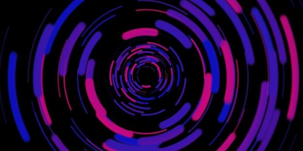 Cirkelvormige lichtlijn roterende laserlicht burst laserlicht spiraal 3d illustratie